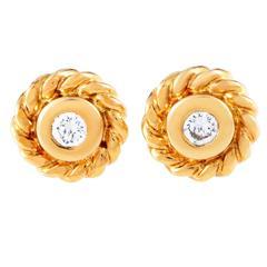 Chanel Yellow Gold Diamond Stud Earrings