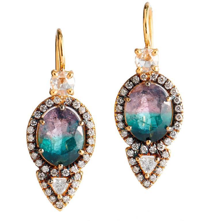 Tourmaline Diamond Gold Earrings