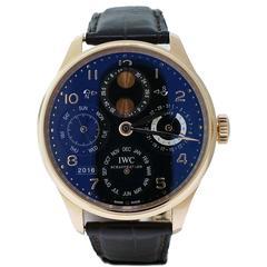 IWC Rose Gold Portuguese Perpetual Calendar Wristwatch Ref IW502119