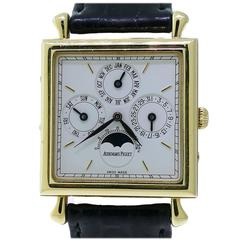 Audemars Piguet Yellow Gold Quantieme Perpetual Calendar Square Wristwatch