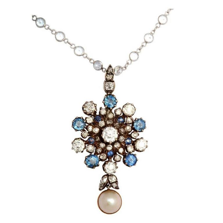 Antique Victorian Sapphire Pearl Diamond Gold Pendant For Sale