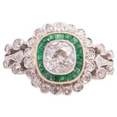 Antique Cushion Cut Emerald Diamond Ring