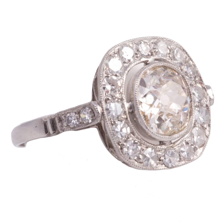 Antique Cushion Cut Diamond Platinum Ring at 1stdibs