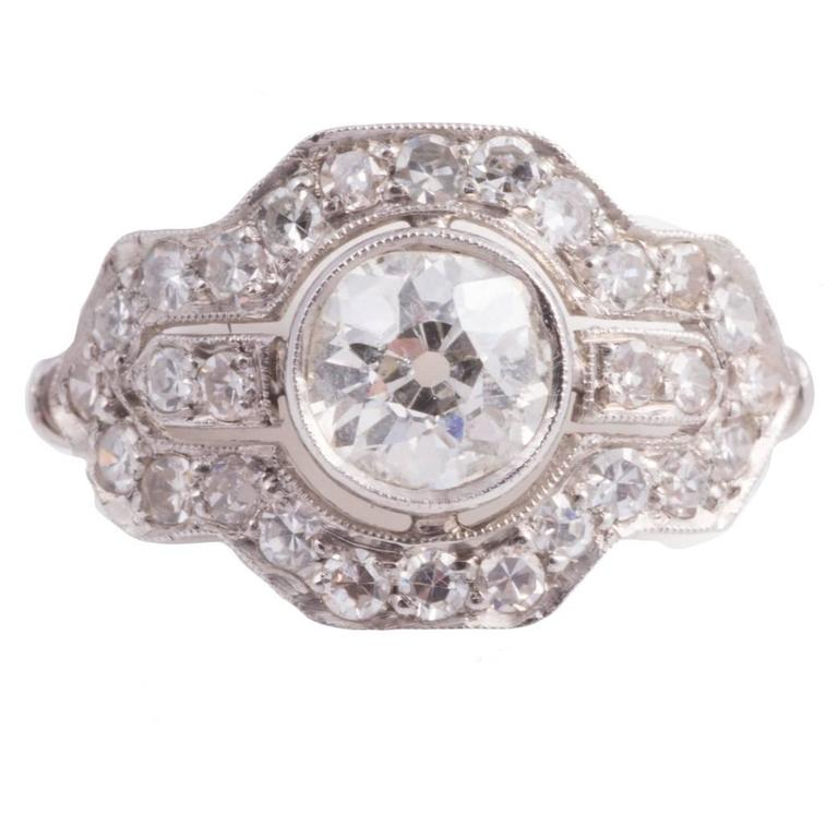 Art Deco Diamond Platinum Ring 1