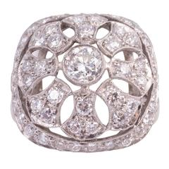 1940s Art Deco Diamond Platinum Filigree Ring