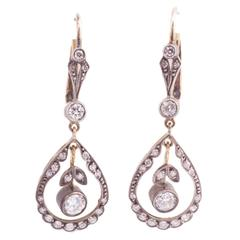 Edwardian Diamond Silver Top Gold Back Earrings