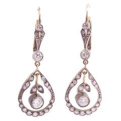 Edwardian Diamond Silver Top Gold Back Earrings