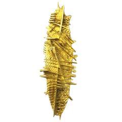 Pomodoro Abstract Gold Brooch