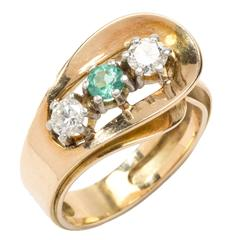 1950s Emerald Diamond Gold Ring