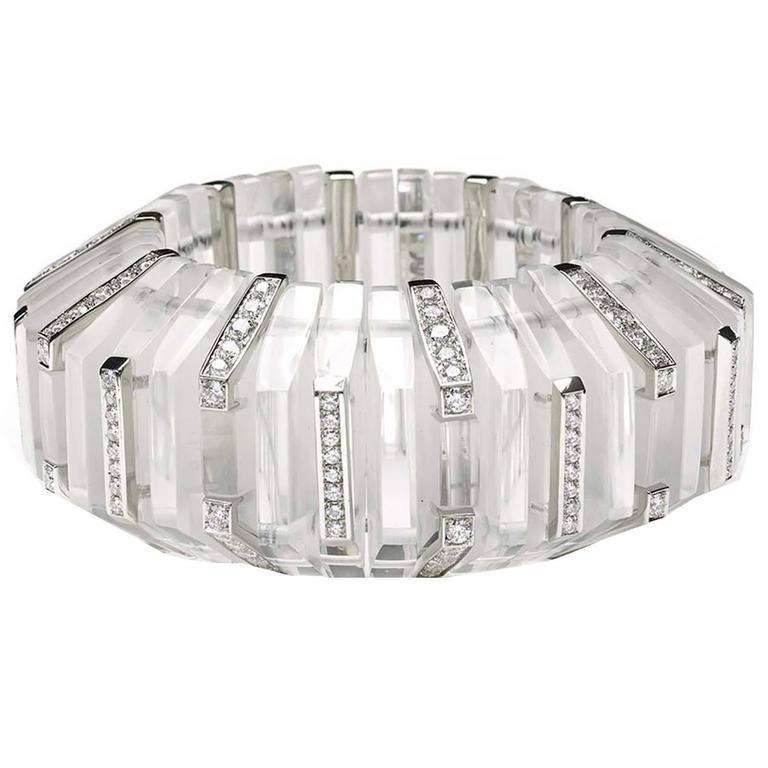 Rock Crystal Diamond Platinum Cuff Bangle Bracelet