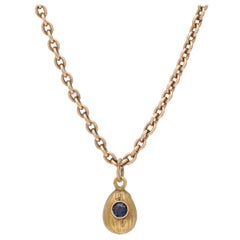 1900s Small Russian Sapphire Gold Easter Egg Pendant