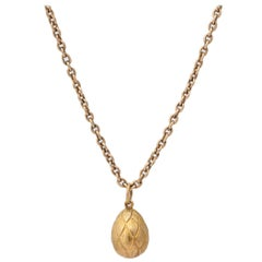 1900s Russian Gold Easter Egg Pendant
