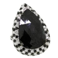Black Diamond Gold Pear Shaped Ring