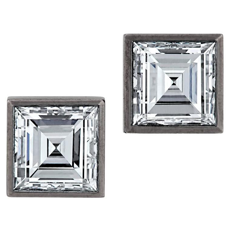 Square Diamond Gold Earrings