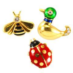 Cartier Enamel Diamond Gold Bee Duck Ladybug Pins