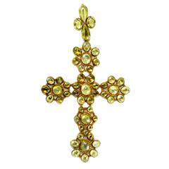 Georgian Cat's Eye Chrysoberyl Gold Cross Pendant