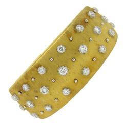 Buccellati Impressive Diamond Gold Wide Cuff Bracelet