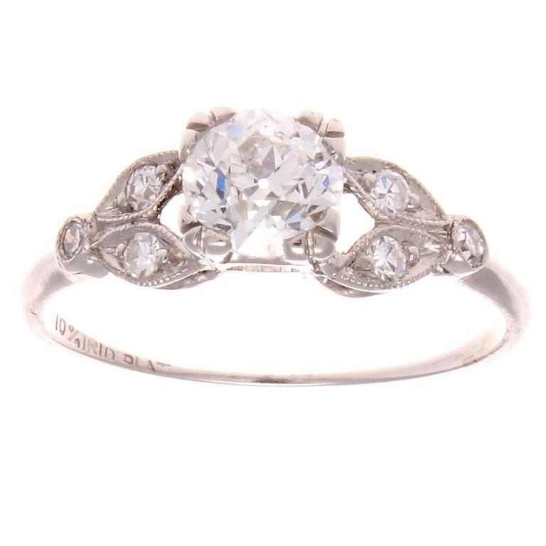 Approximately 0.68 Carat Diamond Platinum Engagement Ring 1