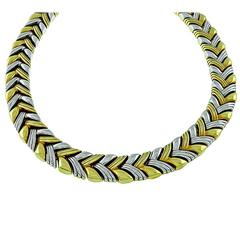 Reversible Two Tone Gold Chevron Necklace