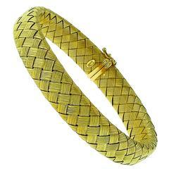 Roberto Coin Basket Weave Gold Bangle Bracelet