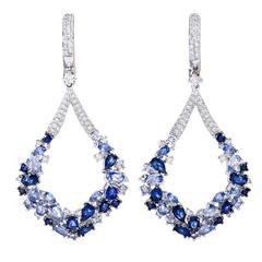 Contemporary Sapphire Diamond Drop Earrings
