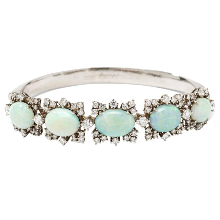 Opal Diamond Gold Bangle Bracelet 1