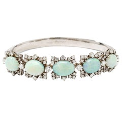 Opal Diamond Gold Bangle Bracelet