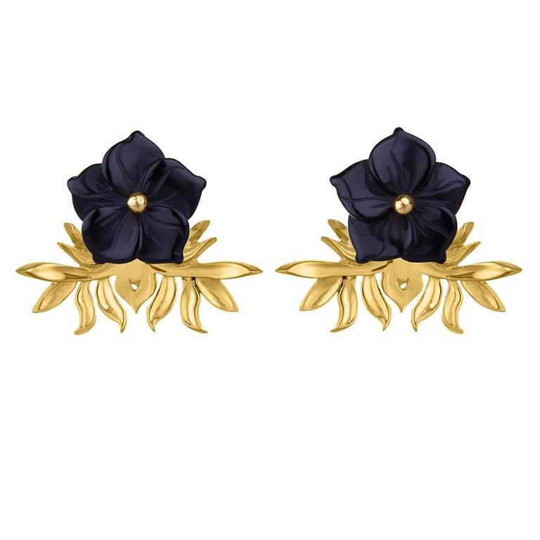 Tessa Packard London Carved Onyx Vermeil Flower Earrings 1