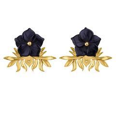 TPL Vermeil Carved Onyx Flower Earrings