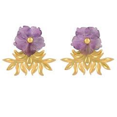 TPL Vermeil Carved Amethyst Flower Earrings