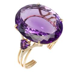 Gorgeous Amethyst Gold Bangle Bracelet