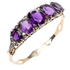 Amethyst Diamond Gold Bangle Bracelet