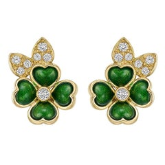 Boucheron Enamel Diamond Gold Clover Earclips
