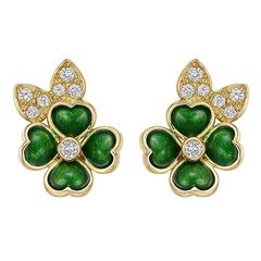 Boucheron Enamel Diamond Gold Clover Earclips