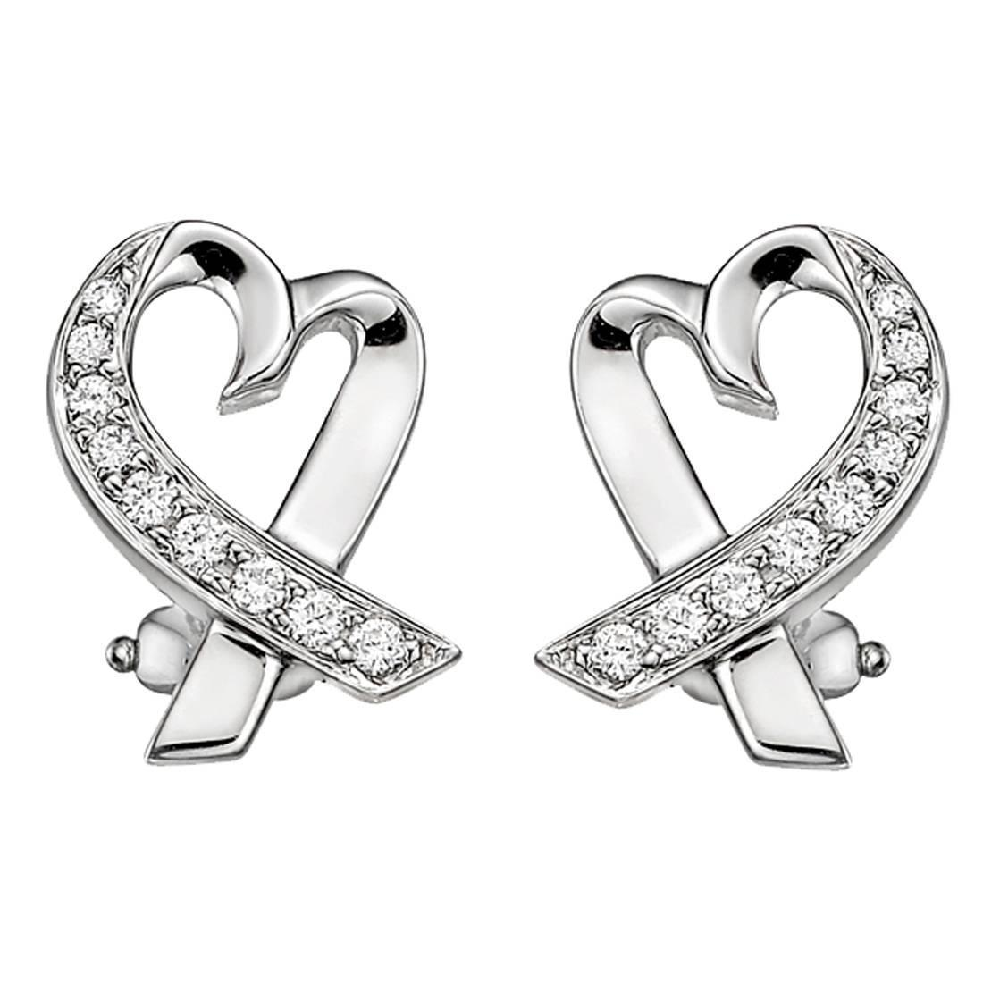 Diamond heart earrings -  Paloma Picasso Diamond Gold Loving Heart Earrings At 1stdibs