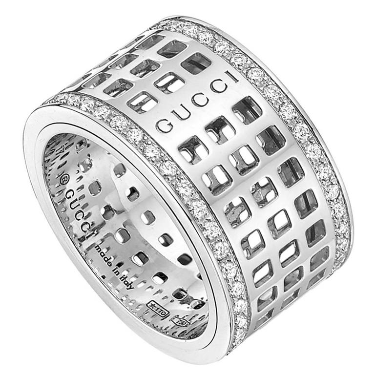 Awesome Gucci White Gold Ring with Diamonds | Jewellry\'s Website