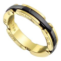 Chanel Black Ceramic Gold Band Ring