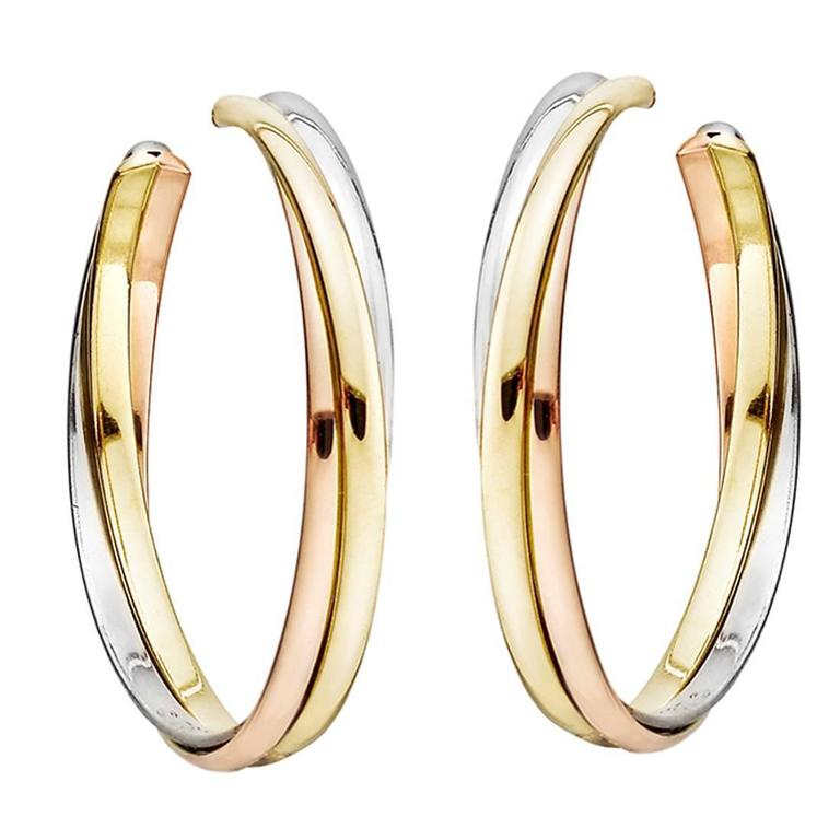 Cartier Tricolor Gold Trinity Hoop Earrings For