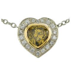 1.01 Carat GIA Cert Fancy Deep Color Diamond Gold Pendant