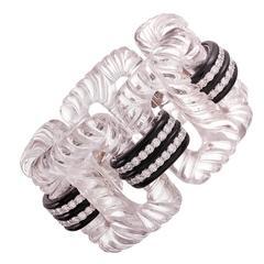 Seaman Schepps Crystal Onyx Diamond Large Link Bracelet