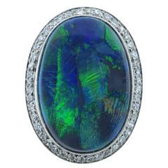 Outstanding Art Deco Black Opal Diamond Platinum Ring
