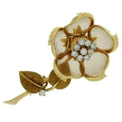 Cartier Diamond Gold Rose Flower Movable Brooch
