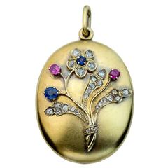 Antique Sapphire Ruby Diamond Gold Locket Pendant