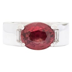 Cartier 5.10 Carat GIA Certified Red-Orange Sapphire Gold Ring