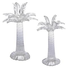 Tiffany & Co. by Seguso Spectacular Pair of Palm Tree Crystal Candelabra