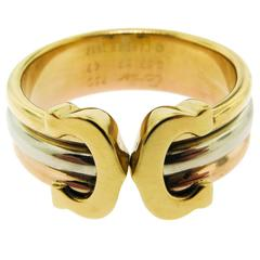 Cartier Double C Tricolor Gold Band Ring