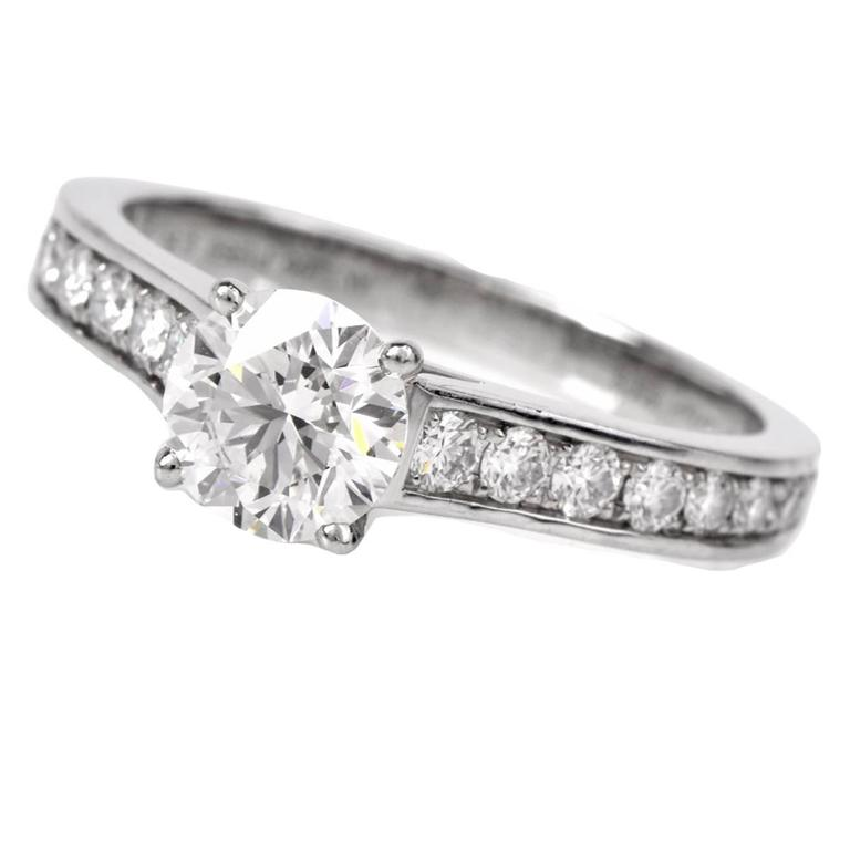 Cartier GIA Cert .90 Carat Diamond Platinum Engagement Ring For Sale