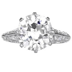 GIA  Certified 5.06 J/VS1 Carat European Cut Diamond Platinum Ring