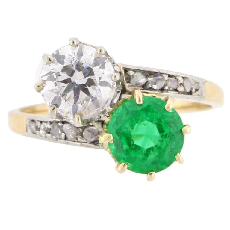 Antique Emerald Diamond Gold Platinum Two Stone Ring