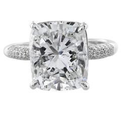 7.01 Carat Cushion Diamond Platinum Solitaire Ring